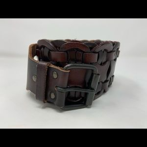 Brown Leather Belt Braided Brown